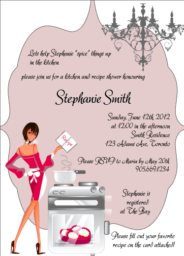 Bridal shower kitchen themed invitations like this filmwisefo