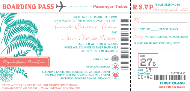 Boarding Pass Wedding Invitations is nice invitations ideas