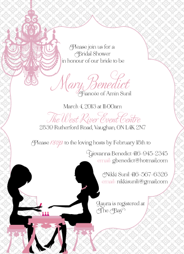 Spa themed bridal shower invitations for Themed bridal shower invitations
